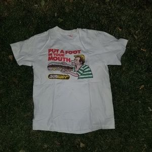 1988 Subway Put a foot in your mouth tee sz L